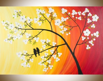 """Abstract Landscape Hand painting wall decor wall art Palette Knife love birds art """"Cherry Blossom"""" by QIQIGALLERY"""