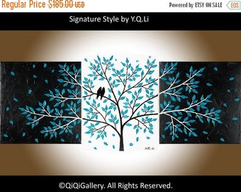 """Sale Painting teal blue art Wall decor home decor Acrylic Impasto Palette Knife wall hangings canvas art """"Life Is Beautiful"""" by qiqigallery"""