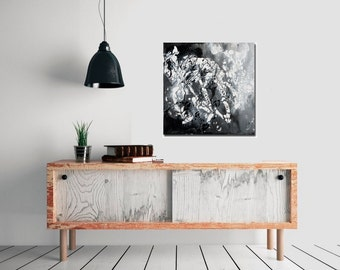 "Modern black and white acrylic Abstract Wall Art Free Flow Impasto painting home decor office decor ""Go with the Flow 5"" by QiQiGallery"