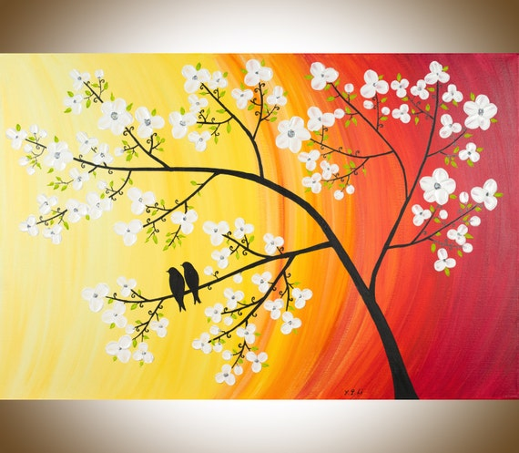 "Contemporary wall art colorful love birds painting white flowers wall decor home decor red yellow orange ""Sunset Blossom"" by QIQIGALLERY"