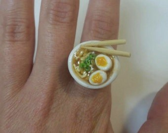 Ramen Bowl Ring, Miniature food Jewelry, Polymer clay, Soup