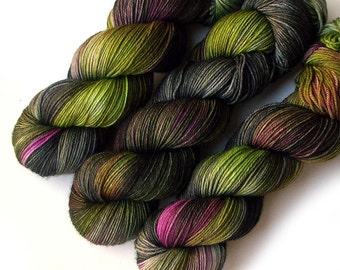 Sock Yarn Handdyed Merino Cashmere Nylon Yarn - Undergrowth, 430 yards