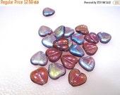 30% OFF 10 pcs of amethyst ab Czech Glass heart beads, Preciosa glass, 10x9.5x4mm heart. GB 167