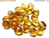 50% Off Sale Yellow Citrine micro Faceted Teardrops, A grade, 6x6mm Stone Beads sold by the each.