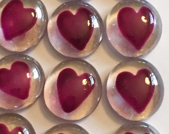 Hearts Hand painted glass gems  party favors  garnet HEARTS  HEART
