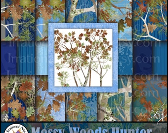 Mossy Wood Hunter Set 13 BLUE - 20 jpg files Digital scrapbooking papers patterns with mossy oak trees & leaf camouflage {Instant Download}