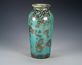 Ceramic Vase - Green, Black, Malachite - Crystalline Glaze on High-Fired Porcelain - Hand Made Pottery - FREE SHIPPING - #E-1-536