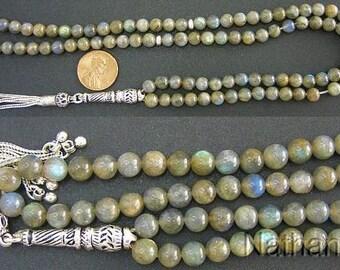 Islamic Prayer Beads Gebteskette 99 LABRADORITE & Sterling Silver