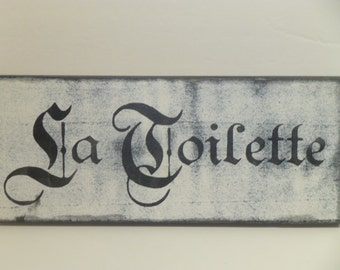 LA TOILETTE SIGN / French toilet sign / French bathroom sign / fancy la toilette sign / French rest room sign / French bathroom door sign