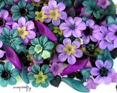 1oz / 65pc secret garden flower bead mix / assorted lucite flower beads / diy jewelry design