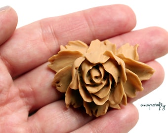 2pc chai tea rose bloom flower cabochons / flat back resin flower embellishment / detailed resin rose cab / diy jewelry pendants bridal