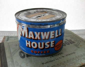 Vintage Maxwell House Coffee Can, Tin, Recycled as a Bank