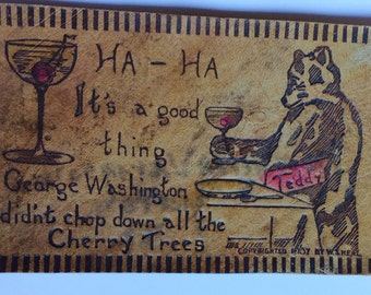ANTIQUE LEATHER POSTCARD vintage 1907 communication, cherries, teddy bear, comical, collectible