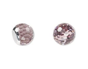 Vintage Swarovski Light Amethyst Fireball 12mm Faceted Round Glass Stones (2)