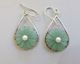Pair of Vintage Earrings - Light Jade Green Floral Design with Pearl in Center - Set in Sterling Silver