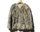 Vintage Gray Rabbit Fur Short Jacket