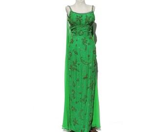 Green Silk chiffon Beaded Full Length Evening Gown