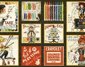 """PICTURE PATCHES Black Artist Printed Cotton Quilt Fabric by the 23.5"""" PANEL Art Palette Draw Near Watercolors Paints Set Steampunk Drawing"""