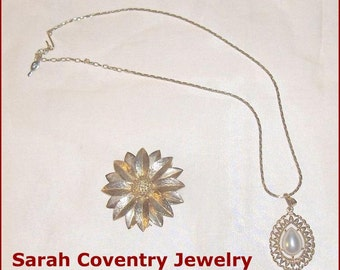 SPECIAL SALE   Vintage Sarah Coventry  Jewelry  Brooch and Pendant