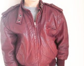 Vintage children's leather moto jacket burgundy size 7/8 members only style