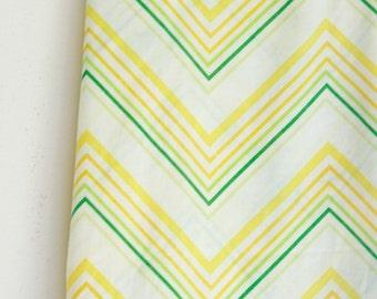 Vintage twin flat sheet yellow and green zig zag pattern