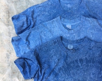 indigo overdyed worn vintage cotton blend undershirt, unisex s - m
