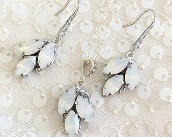 Rhinestone Jewelry Set , Rhinestone wedding jewelry set , leaf pendant necklace and earrings , swarovski bridal jewellery white opal