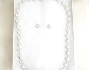 Round Rhinestone Wedding Necklace, cubic zirconia necklace, Bridal Necklace, Bridal Jewelry,  Bridal Jewellery, Round Halo CZ Jewelry