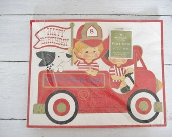 40% off SALE-use coupon code Discount40 at checkout-8pc Set of Vintage Firetruck Birthday Placemats- NOS- Heavy Card Stock-Hallmark