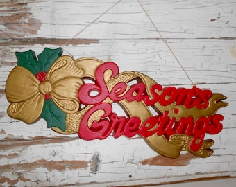 Vintage Season Greetings Sign, Vintage Holiday Decor Sign, Plastic Sign