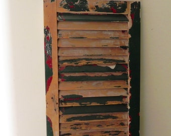Vintage chippy rustic tall shutter - one panel - use horizontally or vertically