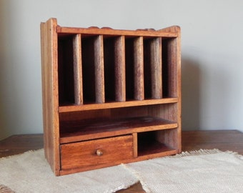 Vintage wall cabinet pigeon hole desk counter organizer paper storage mail 8 cubbies one drawer