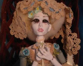OOAK Art Doll Memento Mori posable  by Moninesfaeries