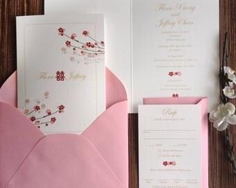 Cherry Blossoms Wedding Invitation Booklet