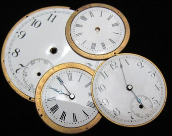 Steampunk Watch Dials Vintage Antique Faces Parts Enamel Porcelain Metal backing    WC 36