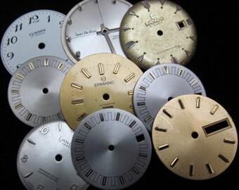 Vintage Antique Watch Dials Steampunk round Faces Parts H 46
