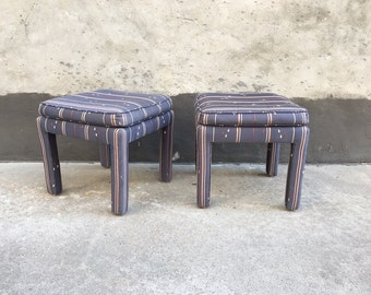 Pair of Upholstered Purple Parsons Stools