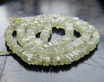 Prehnite Gemstone Heishi Apple Green Faceted 5mm 95 beads 1/2 strand