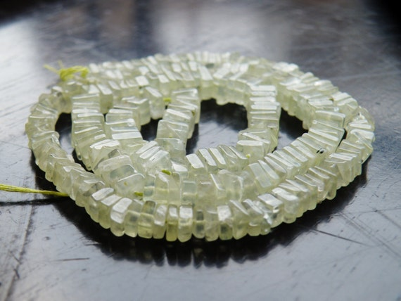 Prehnite Gemstone Heishi Apple Green Faceted 5mm 95 beads 1/2 strand