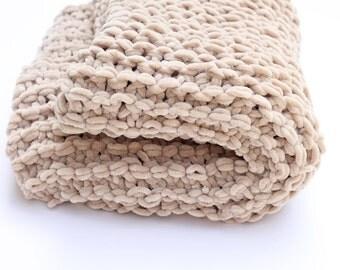 Brown baby blanket, baby blanket, chunky blanket, brown, bulky knit blanket, brown blanket, super chunky, knitted blanket