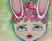 "Original painting | Acrylic Mixed Media | 6 x 9"" Becoming Alice | oddimagination | Denise Baldwin"