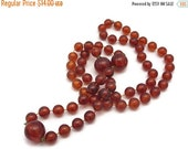 SALE Faux Amber Bead Necklace - Costume Jewelry, Beaded Necklace
