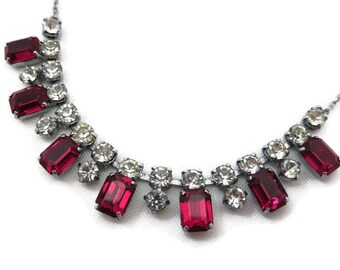 Red Rhinestone Necklace - Vintage Costume Jewelry, Fringe Necklace, Ruby Red