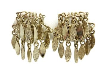 Leaf Tassel Earrings - Fringe, Costume Jewelry, Gold Tone Victorian Revival, Screwbacks