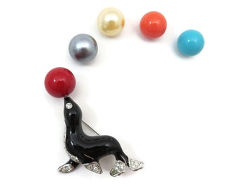 Kenneth Jay Lane Jewelry - KJL Jewelry Seal Brooch, Interchangeable Balls, Original Box, Designer Jewelry, Costume Jewelry