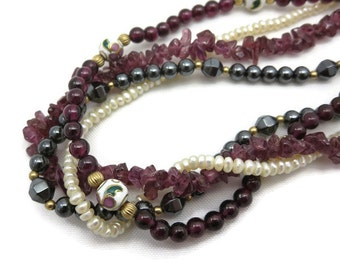 Beaded Necklace - Garnet, Hematite, Cloisonne, Pearls, Multi Strand, Torsade