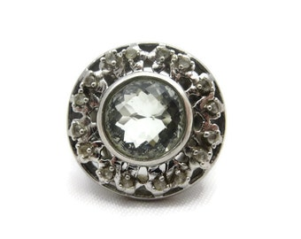 Sterling Quartz Statement Ring - Vintage, Silver, White Topaz