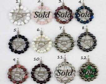 On Sale (5 dollars off) Gemstone & Quartz Star Pendant