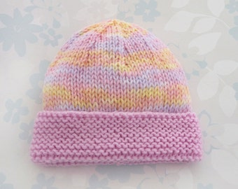 PREEMIE HAT - to fit 2.5 to 5.5 lb baby girl - NICU Kangaroo Care - baby yarn in shades of pink and yellow with a pink brim