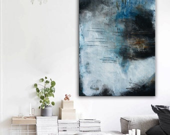 Blue abstract painting on canvas, blue black painting, lobby art, office painting, living room wall art, textured art, black and white large